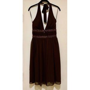 A.B.S. By Allen Schwartz Brown Halter Dress